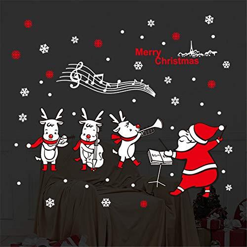 WARMWORD Ventanas de Navidad Pegatinas Papá Noel Banda Reno muñeco de Nieve...