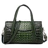 fdhdfh Bolso de Mano con patrón de cocodrilo para Mujer Bolso de Hombro de Compras para Mujer About34 * 10 * 19Cm Verde