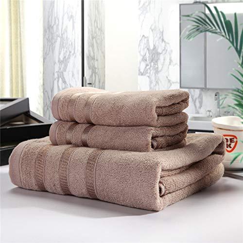 HaHei Juego de 3 toallas de baño de fibra de bambú de algodón y fibra de bambú, 2 toallas, 1 toalla de baño