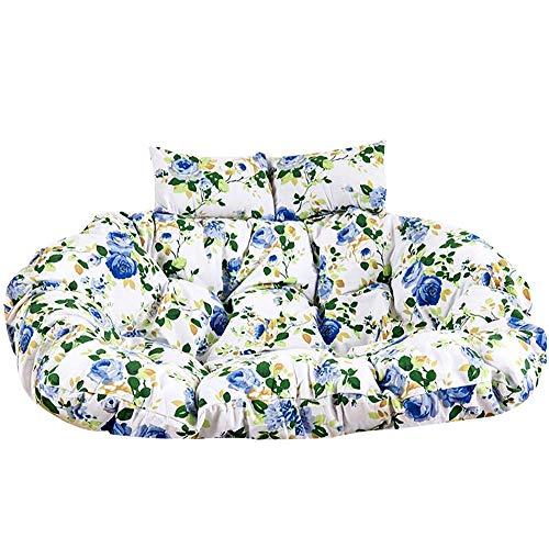 JD Bug Vervanging van hangmand voor stoelkussen, dikke wasbare eiernestkussens 2-zits hangmat Vloer met rits -k