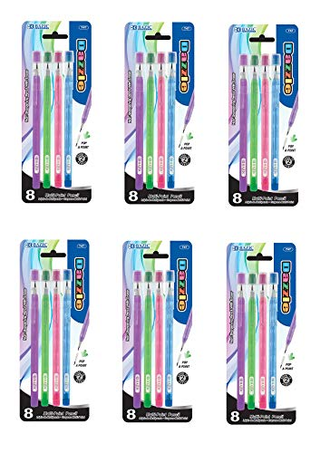 BAZIC Transparent Multi-Point Pencil. Non-Sharpening Pencil Eraser, Sold as 6 Pack