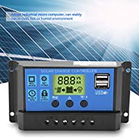 【バレンタインデーカーニバル】ソーラーコントローラー、12V 24VデュアルUSBソーラーパネル充電コントローラーレギュレータLCDディスプレイ10/20/30A(YJSS-10A)