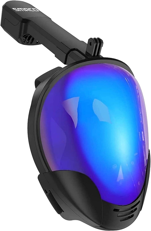AWJ Máscara de Snorkel de Cara Completa, Sistema Superior seco antifugas, máscara de Buceo antivaho con protección UV, Paquetes de Snorkel de Vista Grande de 180 Grados (tamaño: L)