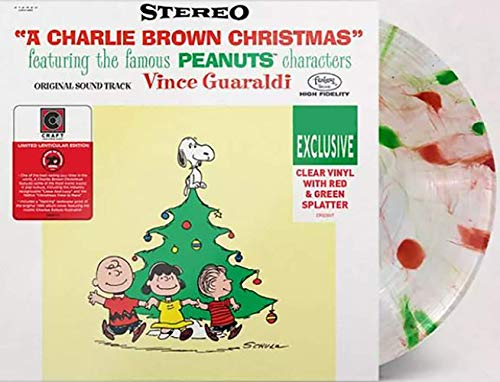 A Charlie Brown Christmas - Exclusive Limited Edition Clear With Red & Green Splatter Colored Vinyl LP With Lenticular Cover