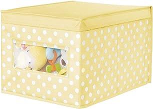 mDesign Caja de Tela de Lunares – Caja de almacenaje con Tapa abatible para el Cuarto de los niños – Organizador Infantil apilable de Fibra sintética Transpirable – Amarillo Claro/Blanco