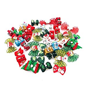 JpGdn 50Pcs Christmas Small Dogs Hair Bows Xmas Puppy Hair Bow Ties with Christmas Tree Santa Claus Snowman Rhinestone for Doggie Cat Rabbit Medium Pet Flowers Bowknot Grooming Accessories Attachment