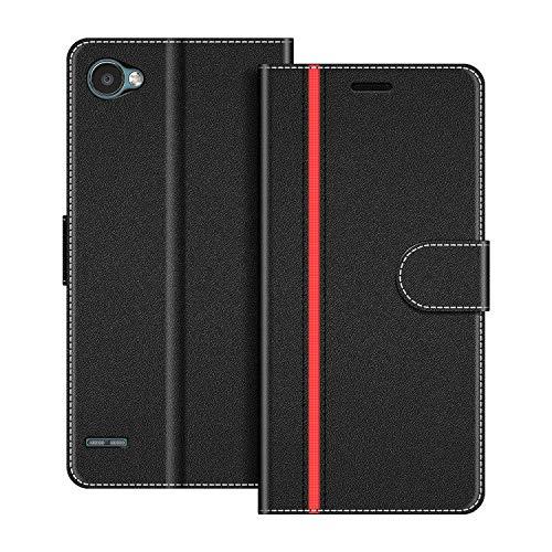 COODIO Handyhülle für LG Q6 Handy Hülle, LG Q6 Hülle Leder Handytasche für LG Q6 Klapphülle Tasche, Schwarz/Rot