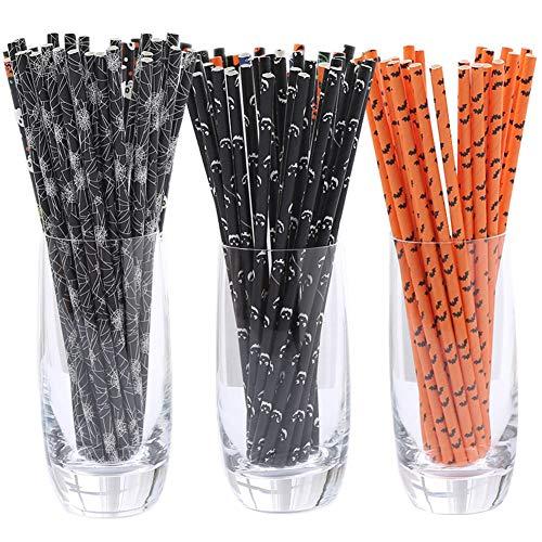 Baifeng - Cannucce in carta kraft, succhi di frutta, frullati, accessori per feste di Halloween, 100 pezzi