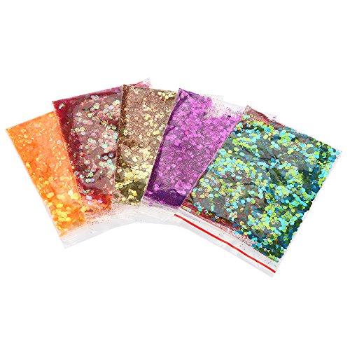 Gezicht nagel oogschaduw glitter poeder decoratie (01#), 5 stuks/set gezicht nagel haar glitter poeder pailletten paillette decoratie make-up tool 1#