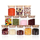 Glass Jars with Bamboo Lids Silicon Ring Set of 12, 150ml Clear Glass Air Tight Kitchen Food Cereal Containers for Storage, Canister Set Ideal for Flour, Sugar, Coffee, Candy, Snack and More