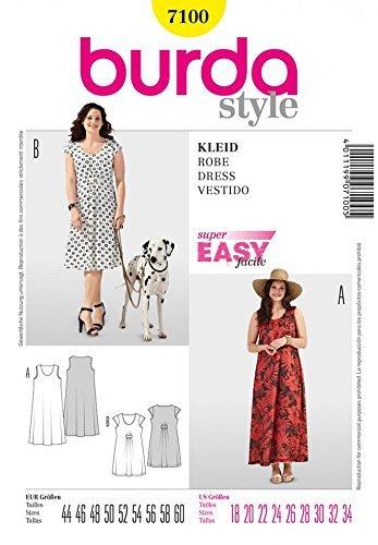 Burda Damen Schnittmuster Sommer-Kleider, 7100, Übergrößen