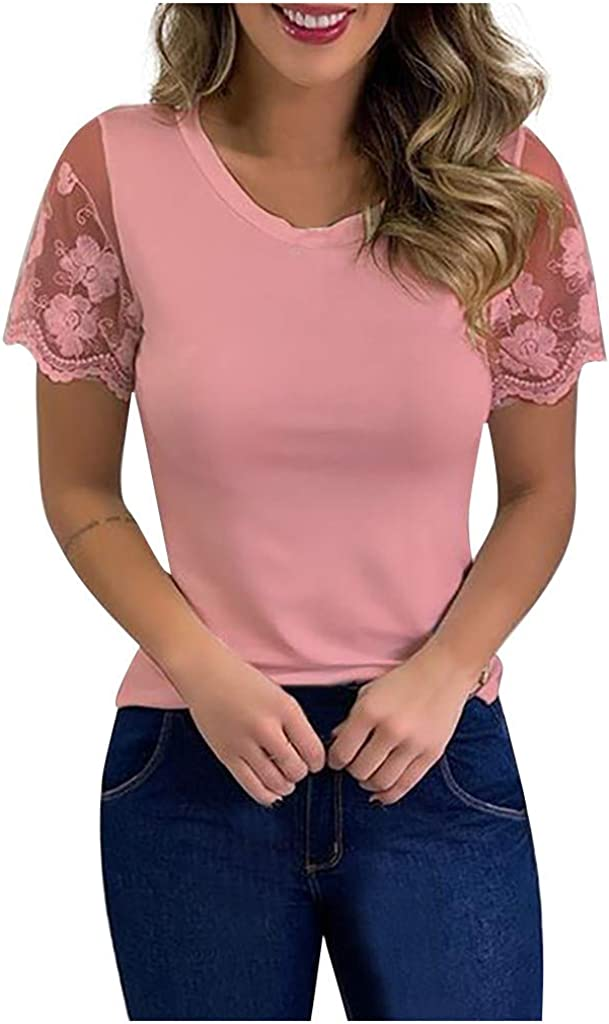 FIRERO Womens Casual Tops Solid Color Lace Short Sleeve O-Neck Blouse Shirt