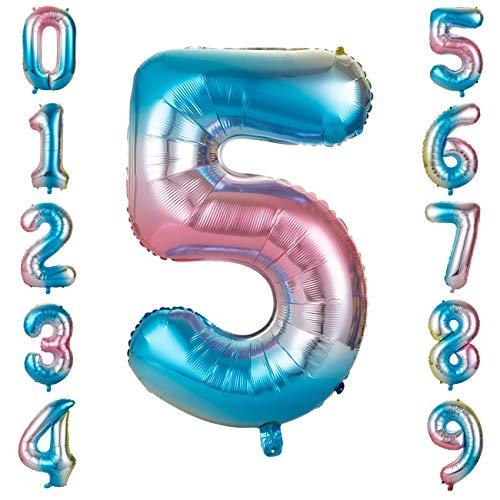 GWHOLE Globos Número 5, Globo Multicolor Mezclado de Azul Amarillo Rosa Globo Grande de Aluminio 1 2 3 4 5 6 7 8 9, Globos para Fiestas de Cumpleaños, Aniversario