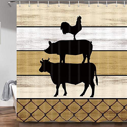 Rustikaler Landhaus-Duschvorhang, Bauernhoftiere, Kuh, Huhn, Schwein auf Vintage-Holzscheune, Landhaus-Stil, Badezimmer-Gardinen, 180 x 180 cm