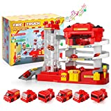 Lucky Doug Car Garage Track Toys for 3 4 5 6 Year Old Boys Gifts, Fire Truck Parking Lot Manual...