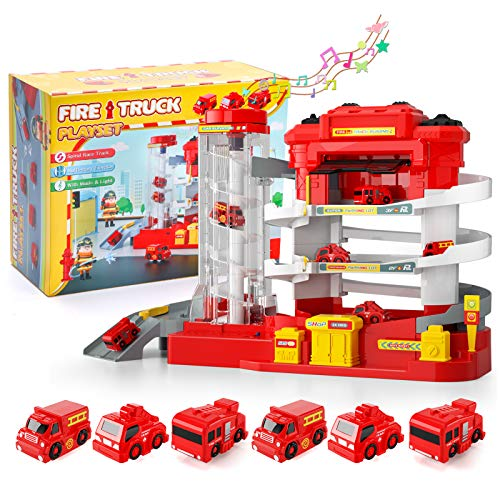 Lucky Doug Car Garage Track Toys for 3 4 5 6 Year Old Boys Gifts, Fire Truck Parking Lot Manual Automatic Lift with Lights Sounds Firefighter Emergency Vehicle Toys for Boys Girls Kids Toddlers