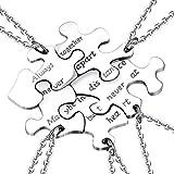 Yonhon 5 BFF Best Friend Necklace Puzzle Friendship Sister Necklace for 5