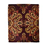 rouihot 50x60 Inches Throw Blanket Mandala Paisley Pattern Oriental Ethnic Burgundy Red and Gold Warm Cozy Print Flannel Home Decor Comfortable Blanket for Couch Sofa Bed