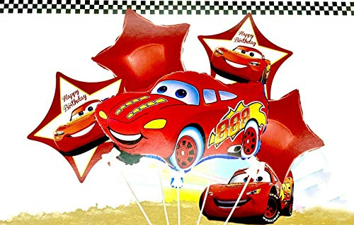 Generisch Juego de globos para cumpleaños infantiles, 5 unidades, diseño de Cars