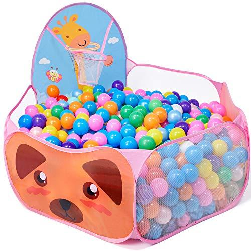 vamei Piscina de Bolas para bebés niños Carpas de Juego Baby Play House Jirafa Pop Up corralito Interior con aro de Baloncesto Niño pequeño Casa de Juego al Aire Libre (Rosa)(Bolas no Incluidas)