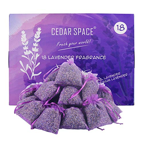 Cedar Space Dried Lavender Flower Buds Sachets - 18 Packs 100% Natural Dried Lavender Flowers for Home Fragrance Drawers Freshener