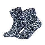 Piarini - Par de calcetines mullidos - Ideales para invierno - Lana y ABS - Azul jaspeado - 39-42