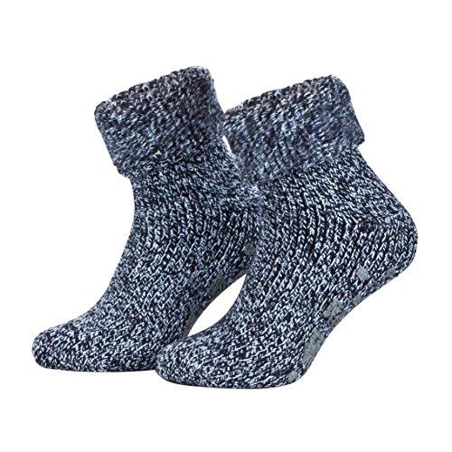 Piarini - Par de calcetines mullidos - Ideales para invierno - Lana y ABS - Azul jaspeado - 35-38