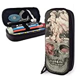 XCNGG Estuche para lápices neceser Skull And Red Fish Variety Face Towel Leather Pencil Case Pouch Zippered Pen Box School Supply For Students Big Capacity Stationery Box Travel Makeup Pouch Bag