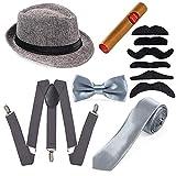 Beelittle Juego de Accesorios para Hombre década de 1920, Gorro Manhattan, Tirantes en Y-Back, Corbata de gángster, Juguete Falso cigarro (F)