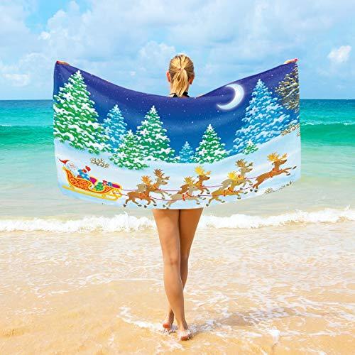 Ahomy Microfiber Beach Towel Large 94x188 cm Christmas Tree Santa Claus Moon Bath Travel Towels Soft Quick Dry For Home, Beach & Swimming