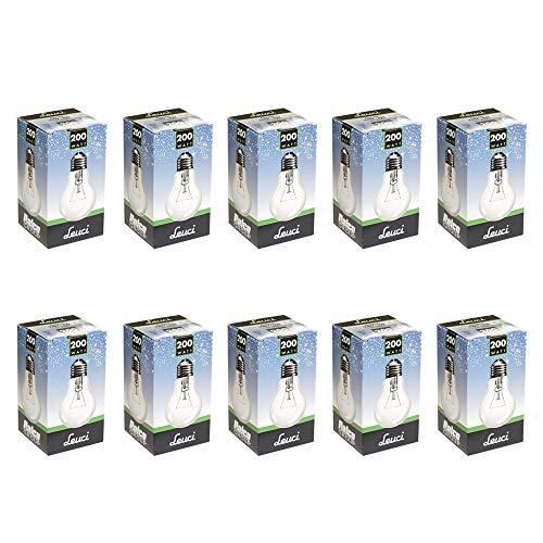 10 x Leuci Glühbirne Birnenform A67 200W E27 klar Glühlampe Glühbirnen Glühlampen warmweiß dimmbar (200 Watt)