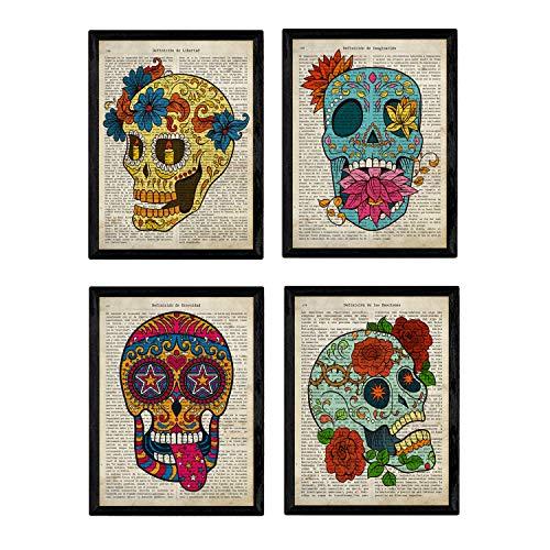 Nacnic Set de 4 láminas de Enciclopedia Vintage con Coloridas Calaveras Mexicanas Sugar Skull del Día de los Muertos. Tamaño A4. Sin Marco.