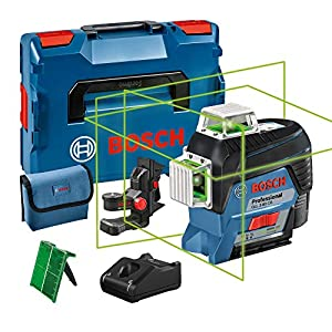 Bosch Professional 0601063T00 GLL 3-80 CG, Nivel láser verde, conexión Bluetooth, soporte, gama de trabajo hasta 30m, 1 batería, en L-BOXX, 12 V, Azul