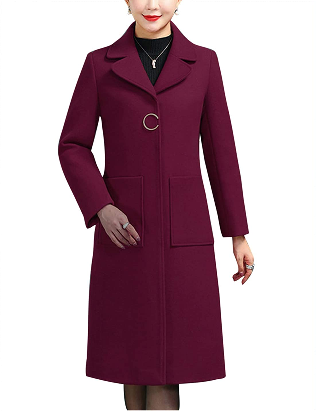 Uaneo Womens Slim Fit Faux Fur Collar Button Up Wool Blended Mid Long Coat Jackets(WineRed-M)