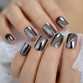 CoolNail Dark Smoky Gray Reflective Mirror Metal Plating False French Acrylic Nail Tips Punk Metallic Square Fake Nails With Glue Sticker