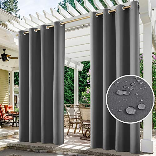 HOMEIDEAS 2 Panels Grey Outdoor Curtains for Patio Waterproof, 52 X 96...