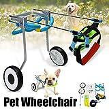 QML 2 Rad 5'Haustier Hund Katze Rollstuhl Aluminium Walk Cart Scooter für Behinderte Hinterbein XS...