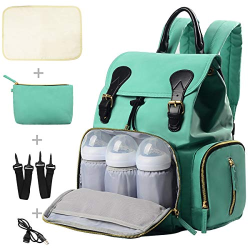 Diaper Bag Backpack, Travel Diaper Baby Backpack with Charging Port, Diaper Bag with Stroller Hanger,Thermal Pockets,Handbag,Changing Pad, USB Cable Diaper Bag for Mom, Grils Large Best Gift(Green)