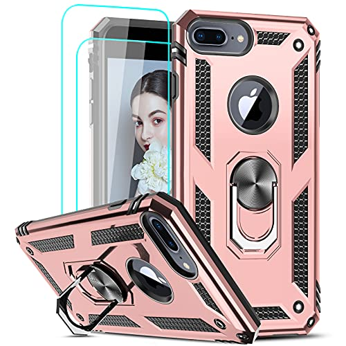 LeYi Compatible for iPhone 8 Plus Case, iPhone 7 Plus Case, iPhone 6 Plus Case with [2Pack] Tempered Glass Screen Protector, Military-Grade Phone Case with Ring Kickstand for iPhone 6s Plus, Rose Gold