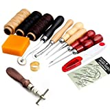13Pcs Leather Craft Hand Stitching Sewing Tool Thread Awl Waxed Thimble Kit: