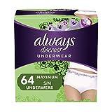 Always Discreet Incontinence & Postpartum Underwear for Women, Small/Medium, 64 Count, Maximum Protection,...