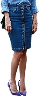 TENGFU Women's Classic Button Front Boycon Stretch Midi Denim Skirt Blue