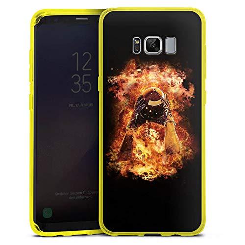 DeinDesign Silikon Hülle transparent gelb kompatibel mit Samsung Galaxy S8 Plus Case Schutzhülle American Football Feuer Amerika Usa