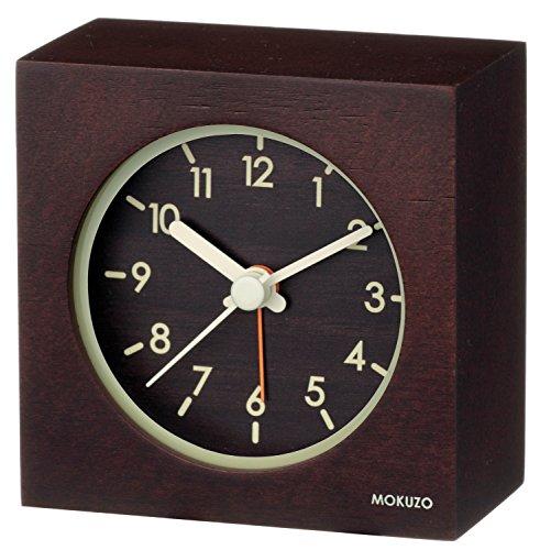 ランデックス(Landex) 目覚まし時計 アナログ MOKUZO ミニキューブ 木枠 ダークブラウン YT5224DBR