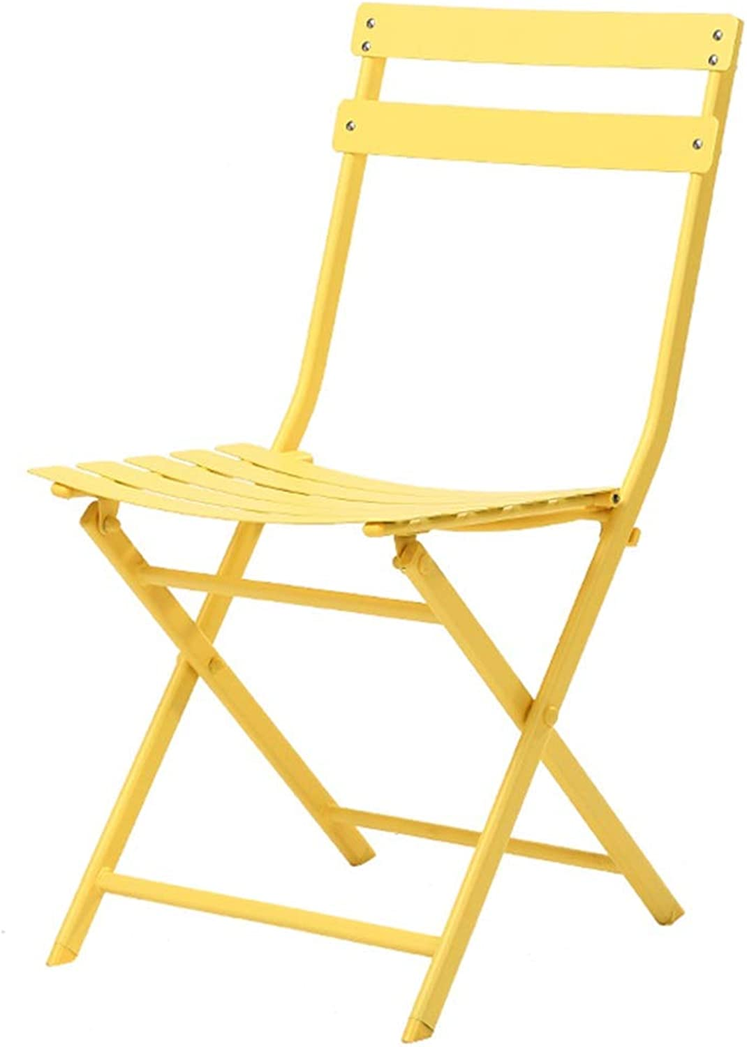 Fashion Simple Yellow Wrought Iron Folding Dining Chair Living Room Balcony Leisure Chair
