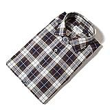 Bagutta【バグッタ】ネルシャツ セミワイドカラー マドラスチェック(38 ネイビー×ブラウン)