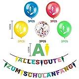 iZoeL Schuleinführung Schulanfang Einschulung Banner Deko Alles Gute Zum Schulanfang Filz Girlande + 15 Konfetti Luftballon für Junge Mädchen - 5