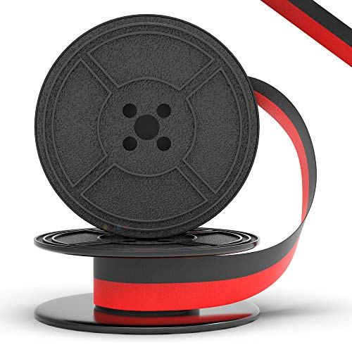Inkvo Twin Spool Typewriter Ribbon - Red and Black Ink - Fresh Ink Replacement - Compatible with Smith Corona, Royal, Remmington, Underwood, Brother, Olivetti, Olympia, Adler and More - 1 Pack