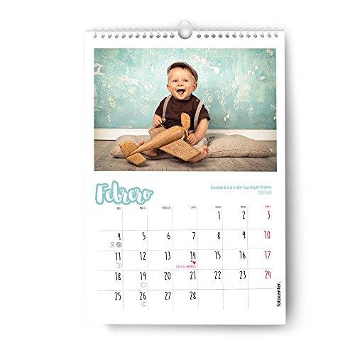 FOTOCENTER Calendarios Personalizados de Pared Espiral 30 x 42 cm de 14 páginas - Imprime tu Pack de 1 Calendario.