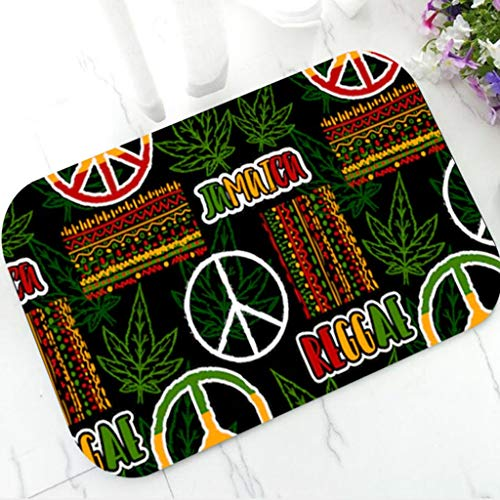 shazhuangdezhuangshipu BadematteRasta Reggae Friedenszeichen Willkommen Fußmatte Gummi Türmatte Teppich Rutschfester Boden Teppich für Reggae Musikliebhaber Party Dekoration Geschenk
